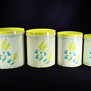 Vintage NC Colorware Canister Set with Floral Motif