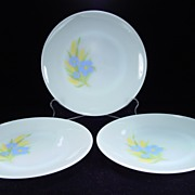 "Three Fire King ""Forget-Me-Not"" Dinner Plates"