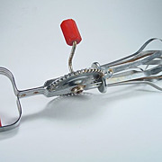 1930's A & J Hi-Speed Beater/Hand MIxer with Red Bakelite Handles