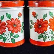 Vintage Red Floral Salt & Pepper Shakers by Decoware