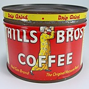 "Vintage Red 1/2 lb. ""Hills Bros. Coffee"" Can"