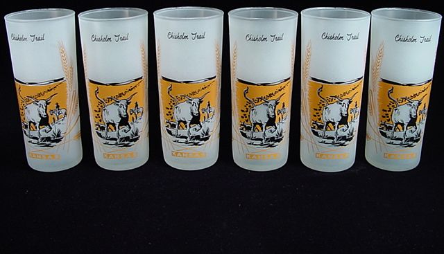 """Six Vintage """"Kansas Chisholm Trail"""" Frosted Iced Tea Tumblers by Anchor Hocking"""