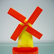 Vintage Red & Yellow Plastic Windmill Wall Pocket