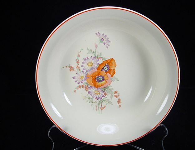 Vintage Poppy Pattern Soup Plate by Universal Potteries