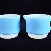 Rare Fire King Blue Mosaic Creamer & Sugar