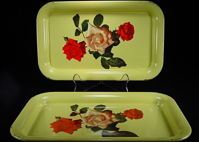 Two Vintage Yellow Trays with Roses Motif