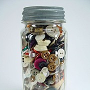 Vintage Paneled Product Jar with Colorful Buttons