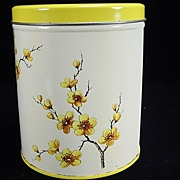 Vintage Decoware Canister with Yellow Floral Motif