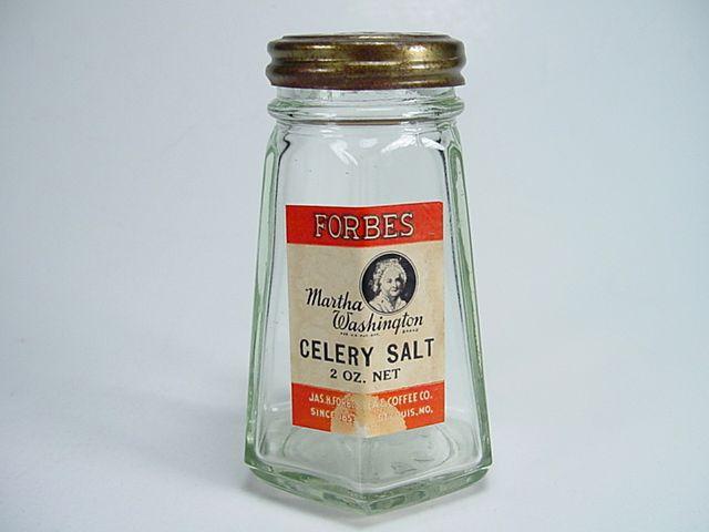 Vintage Forbes Martha Washington Brand Celery Salt Shaker with Original Label