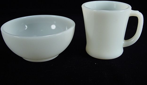 Fire King Ivory White Chili Bowl & D Handled Mug