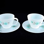 Two Fire King Premium Bonnie Blue Cups & Saucers