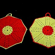 Two Vintage Red & Yellow Crocheted Pot Holders/Hot Pads