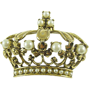 Signed Jeanne Vintage Crown Pin / Brooch with Simulated Pearls