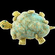Signed Jeanne Vintage Turtle Tortoise Pin Brooch
