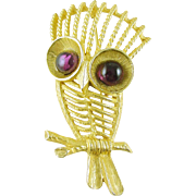 Signed Jeanne Vintage Owl Pin / Brooch with Purple Eyes