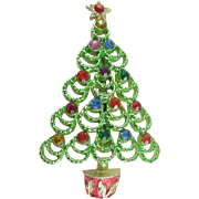 Signed BJ Vintage Colored Christmas Tree Pin/ Brooch with Rhinestones