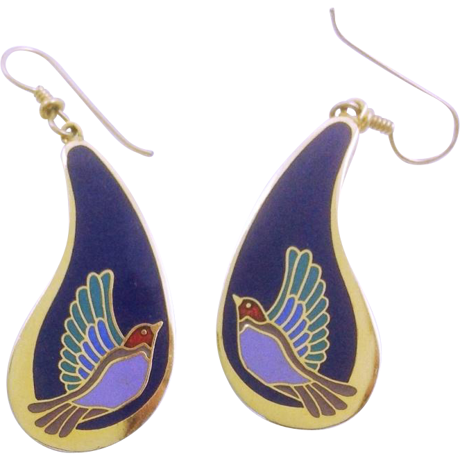 Vintage Laurel Burch Drop Earrings Swallow