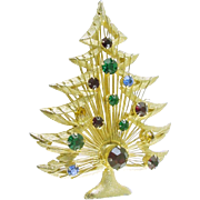Signed Brooks Vintage Wire Work Christmas Tree Pin / Brooch with Rhinestones