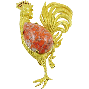 Signed Jeanne Vintage Gold-tone Rooster Pin with Marbled Cabochon and Rhinestones