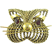 Signed Jeanne Vintage Cat Face Pin / Brooch with Rhinestone Eyes