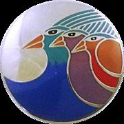 Vintage Laurel Burch Pin / Brooch Celestial Birds