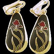 Vintage signed Laurel Burch Clip Drop Earrings Wild Iris