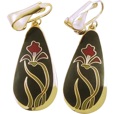 Vintage signed Laurel Burch Clip Drop Earrings Wild Iris
