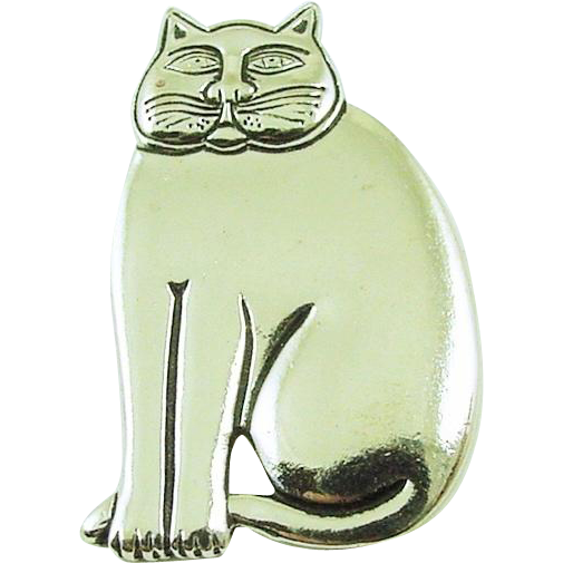 Laurel Burch Vintage Silvertone Mystic Cat Pin