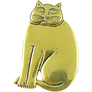 Laurel Burch Vintage Gold-tone Mystic Cat Pin