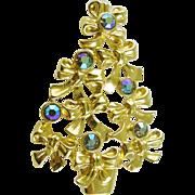Signed AVON Vintage Christmas Tree Pin / Brooch with Rhinestones