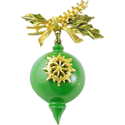Signed ART Dangling Christmas Holiday Ornament Brooch / Pin