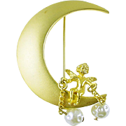 Signed Jeanne Crescent Moon Brooch / Pin with Cherub and Simulated Pearls