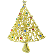 Signed JJ Christmas Tree Pin / Brooch with Rhinestones - Book Piece