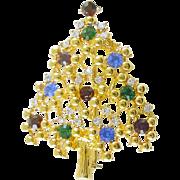 Vintage Christmas Tree Pin / Brooch with Rhinestones signed Eisenberg Ice