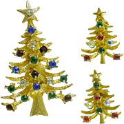 Signed LJM Christmas Tree Pin / Brooch with Rhinestones  with Matching Clip Earrings