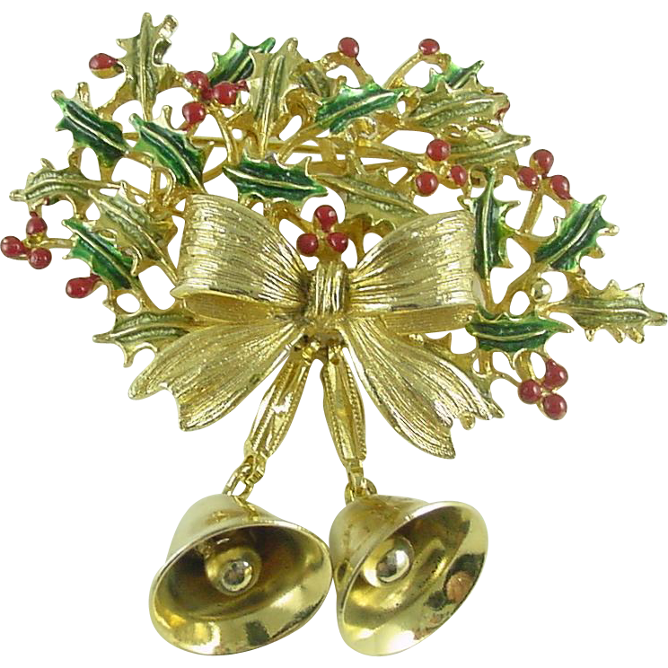Signed Weiss Vintage Christmas Holiday Pin Brooch with Bells -  Book Piece
