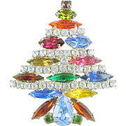 Signed Park Lane Vintage All Rhinestone Christmas Tree Pin / Brooch