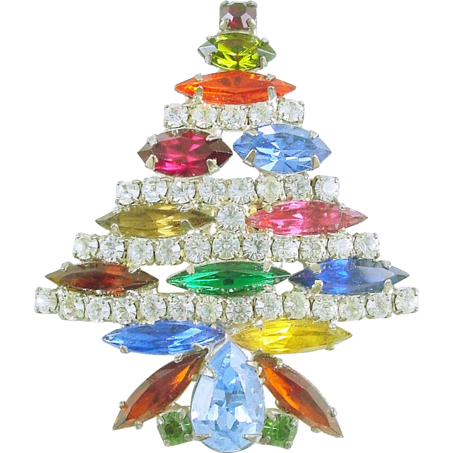 Signed Park Lane Vintage All Rhinestone Christmas Tree Pin / Brooch