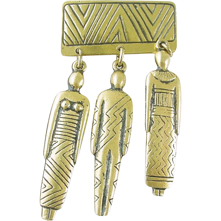 Early Vintage Laurel Burch Tribe Pin with Dangling Charms Unsigned