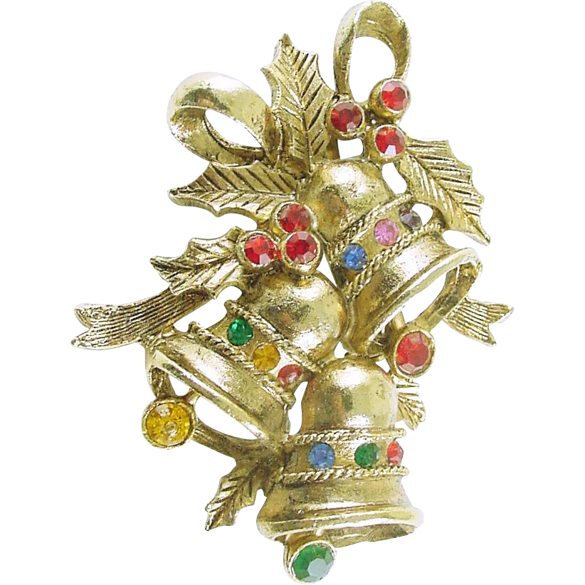 Rare Beatrix Vintage Christmas Holiday Bells Pin / Brooch with Rhinestones