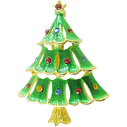 Signed JJ Christmas Tree Pin / Brooch with Green Enamel and Colored Rhinestones