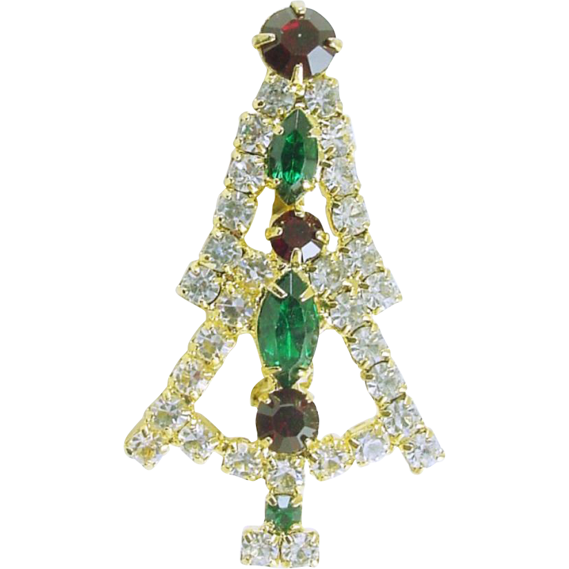 Vintage All Rhinestone Christmas Tree Pin / Brooch Smaller