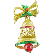 Signed Gerry's Vintage Christmas Holiday Bell Brooch / Pin -  Book Piece