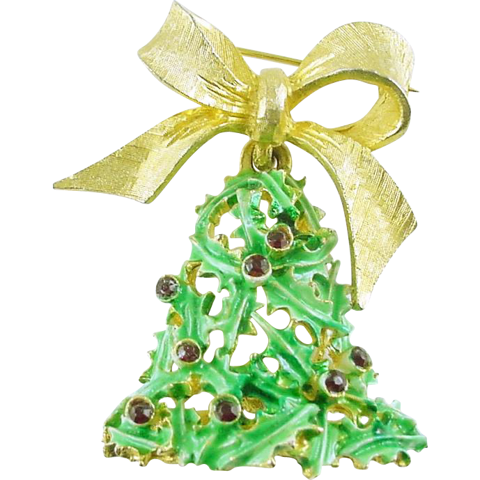 Signed MYLU Vintage Christmas Holiday Bell Brooch / Pin