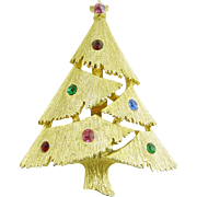 Vintage Christmas Tree Pin / Brooch with Colored Rhinestones