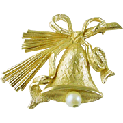 Signed Napier Vintage Christmas Holiday Bell Pin / Brooch