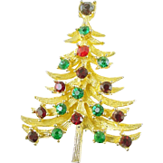 Signed MYLU Vintage Christmas Tree Pin / Brooch with Colored Rhinestones