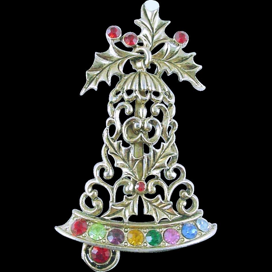RARE Signed Beatrix Vintage Christmas Holiday Bell Pin / Brooch