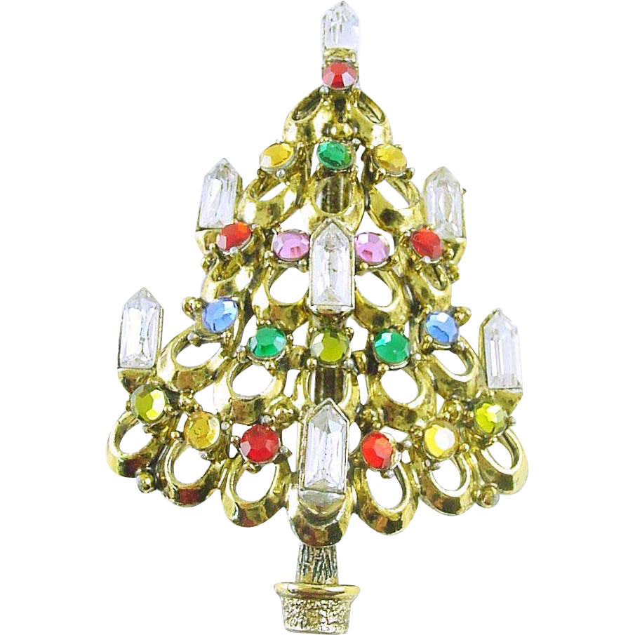 Signed Hollycraft Vintage Christmas Tree Pin / Brooch 7 Candle Tree  - Book Piece