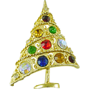 Signed Weiss Vintage Christmas Tree Pin / Brooch with Rhinestones Book Piece